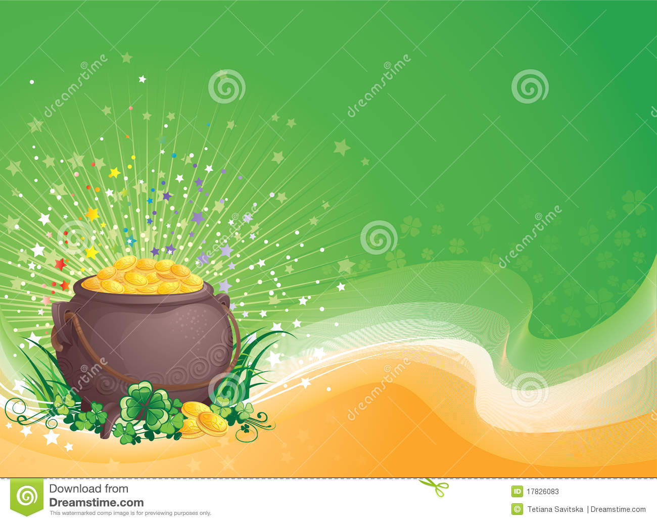 A Pot Of Gold On Saint Patrick's Day. Stock Vector