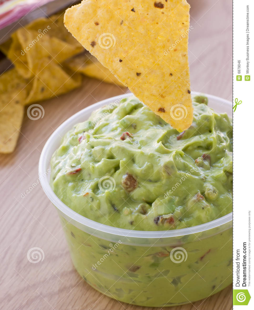 Pot Of Guacamole With A Corn Tortilla Crisp Royalty Free Stock Image ...