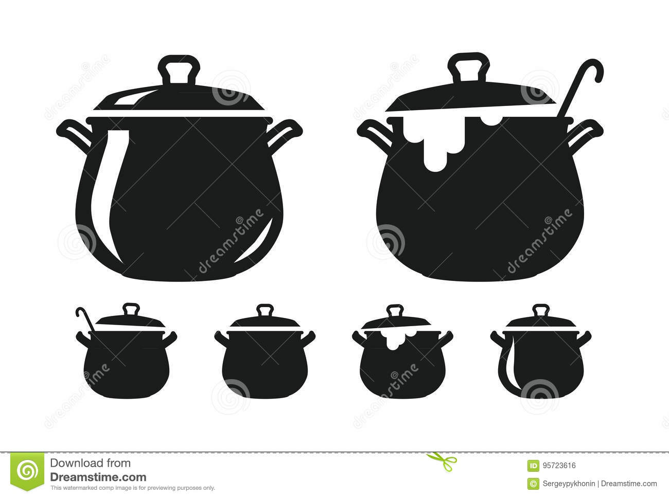Pot with lid pan of soup silhouette cooking cuisine for Art cuisine cookware