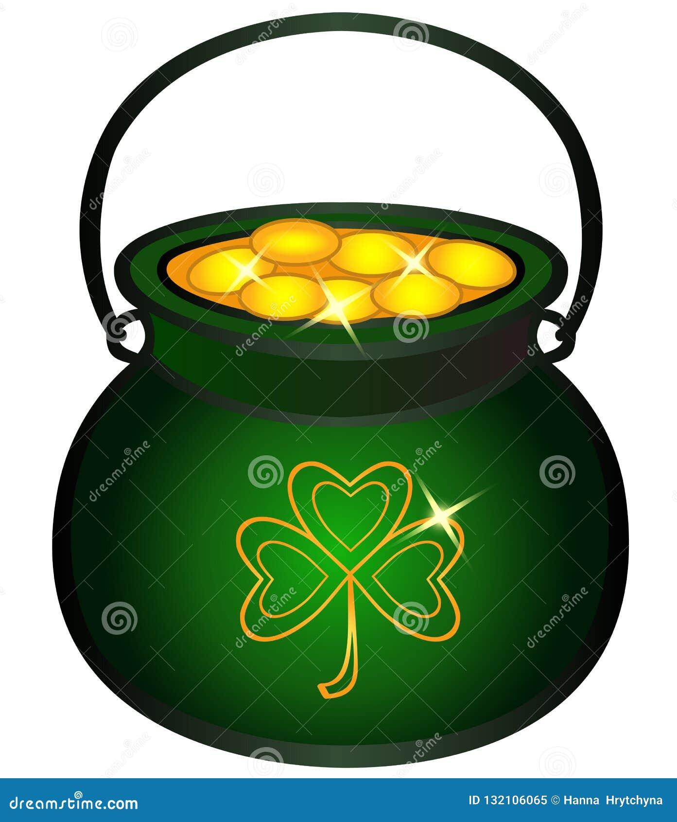 Pot met gouden muntstukken wordt gevuld dat Ketel met gouden, Keltische mythologie, Ierse vakantie