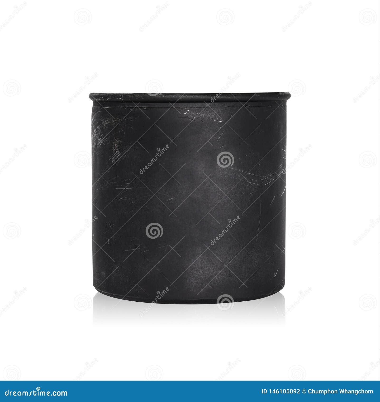 Pot noir d usine d isolement sur le fond blanc Pot de fleur vide pour la conception Chemin de coupure