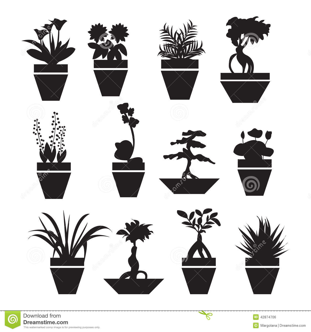 Pot Plants Garden Flowers And Herbs Illustration Stock