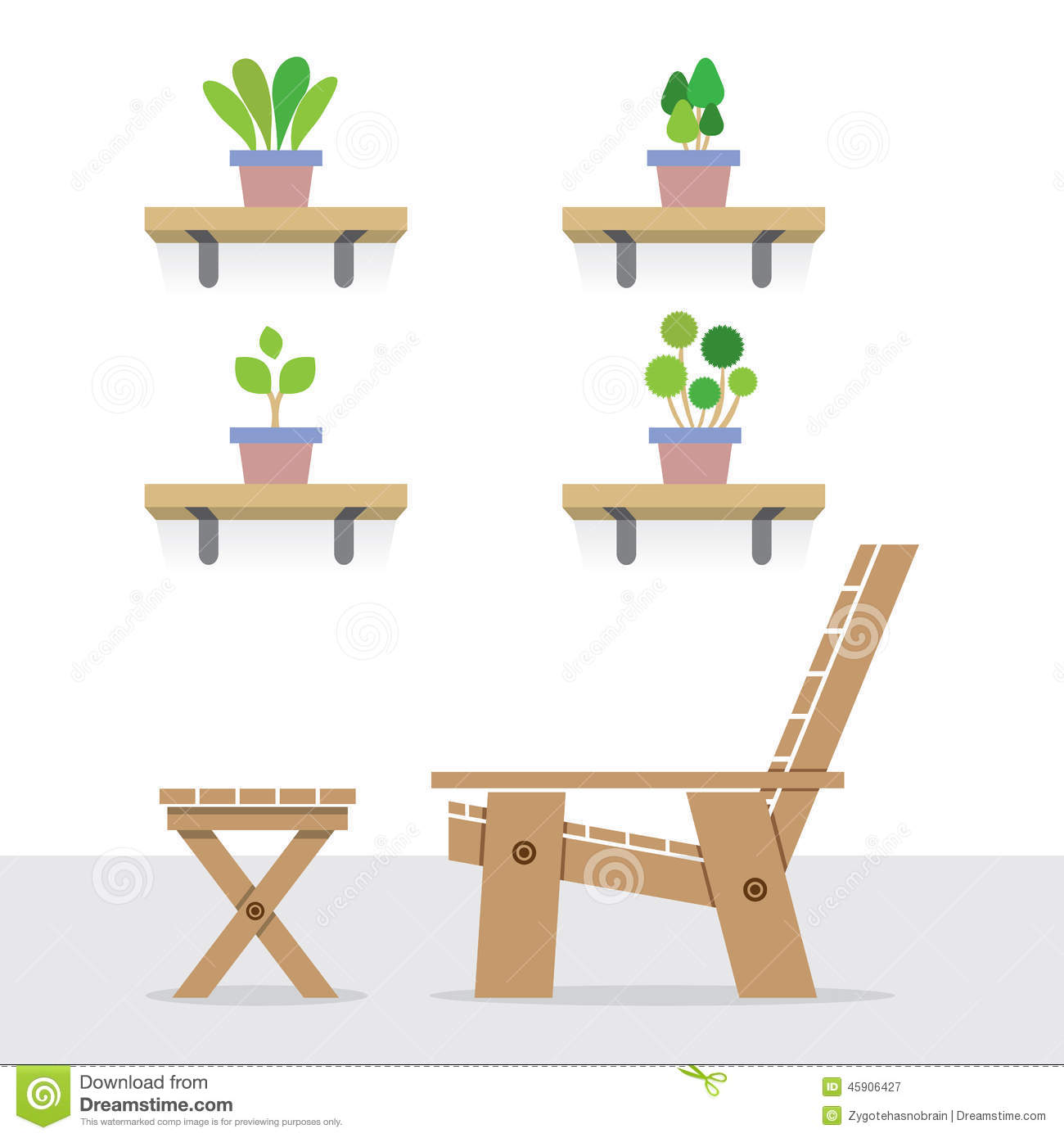 Outdoor table and chairs side view - Chair Garden Illustration Plants Pot Shelves Side Table Vector View