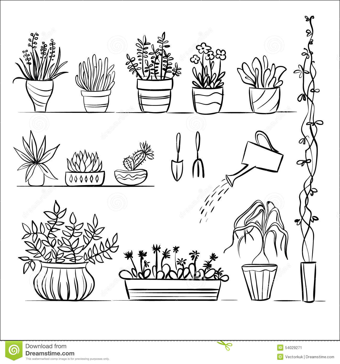 Pot plants and tools sketch stock vector image 54029271 for Gardening tools drawing