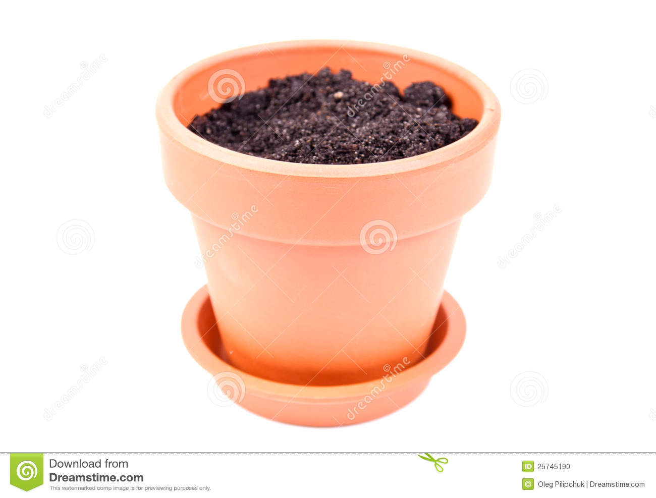 Pot With Soil Stock Photo Image 25745190