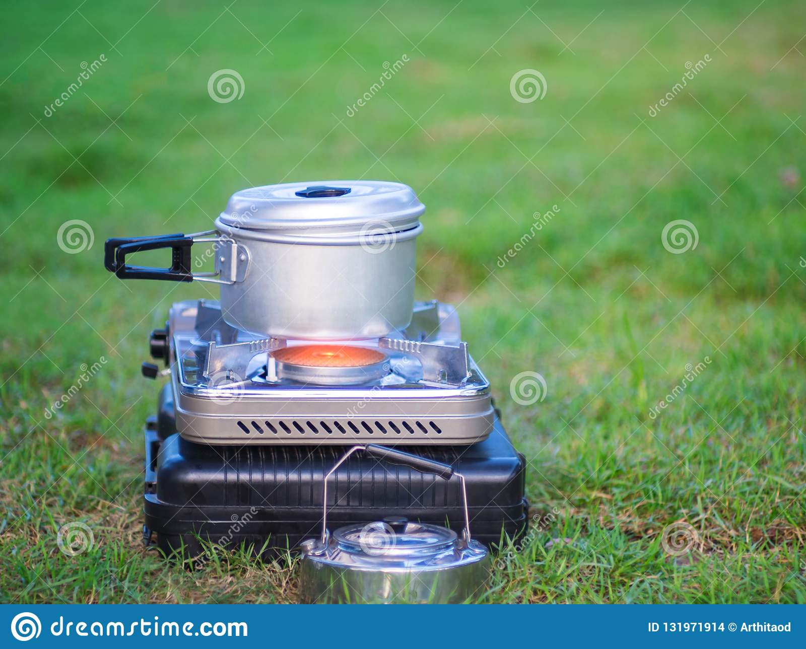 Peachy Pot Stands On A Portable Gas Stove Cooking On Camping Interior Design Ideas Clesiryabchikinfo
