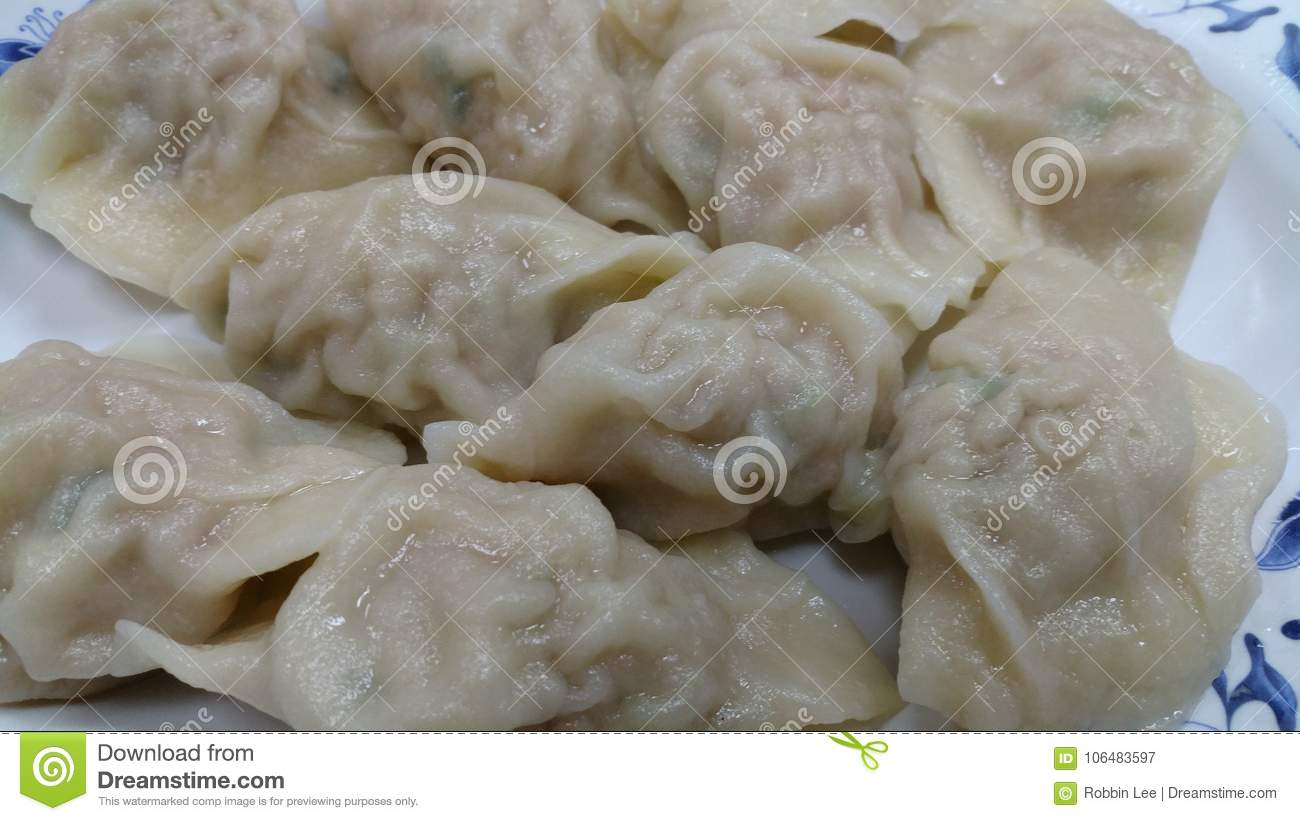 Pot stickers gyoza ,Chinese cuisine, view from the top.