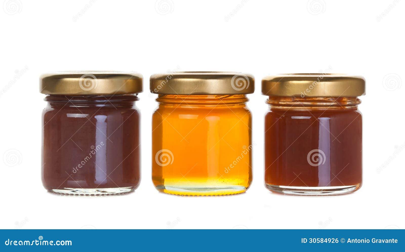 Pot trois de confiture et de miel