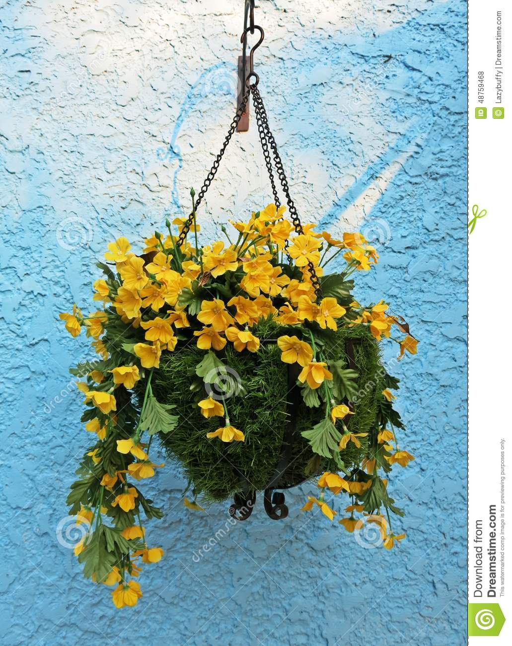 A Pot Of Yellow Flower Hang On Blue Bumpy Cement Concrete Wall Stock