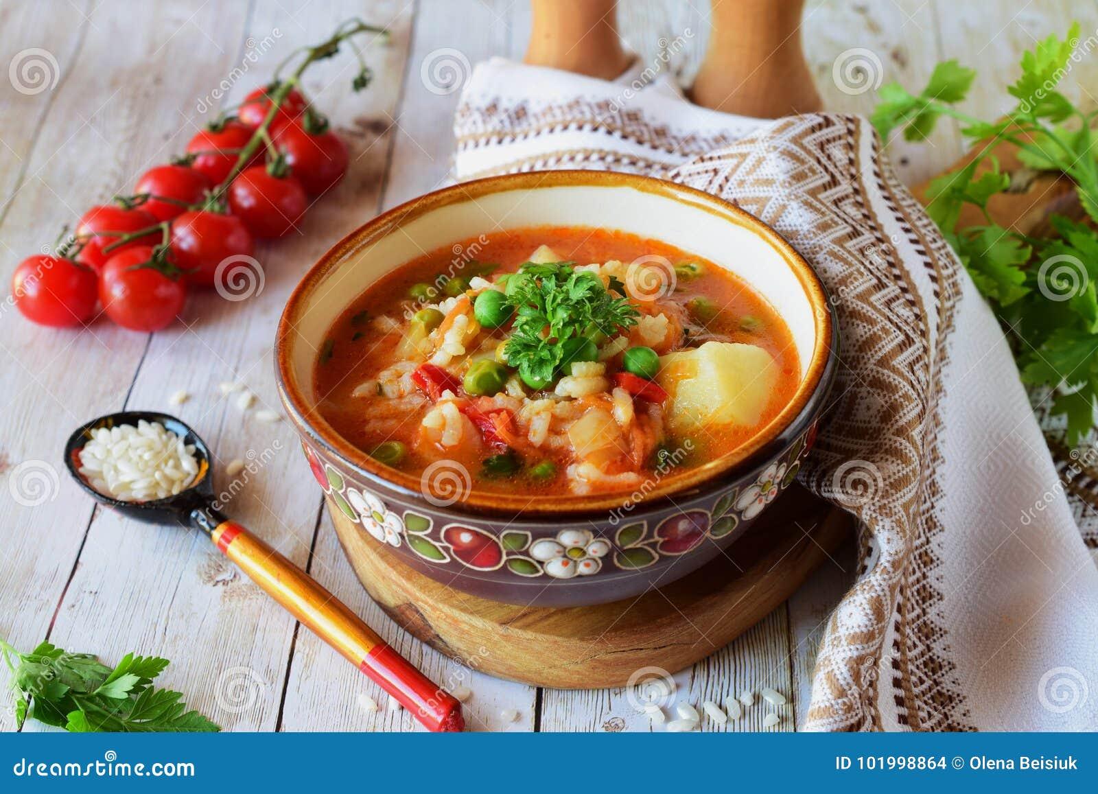 Potage aux légumes avec du riz