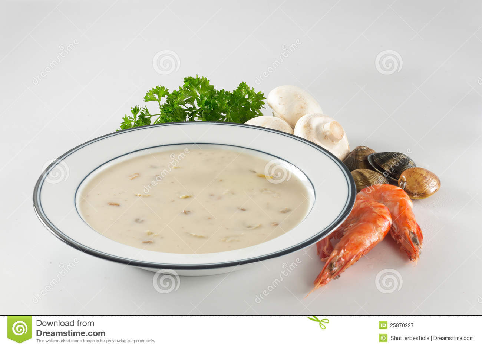 Potage crémeux de fruits de mer