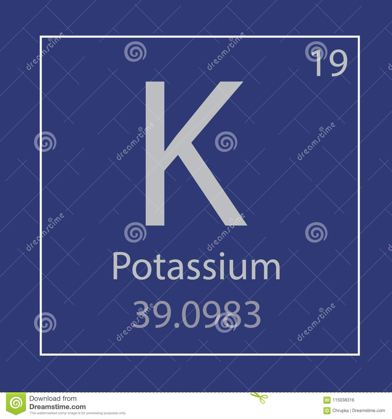 Potassium K Chemical Element Icon Stock Vector Illustration Of