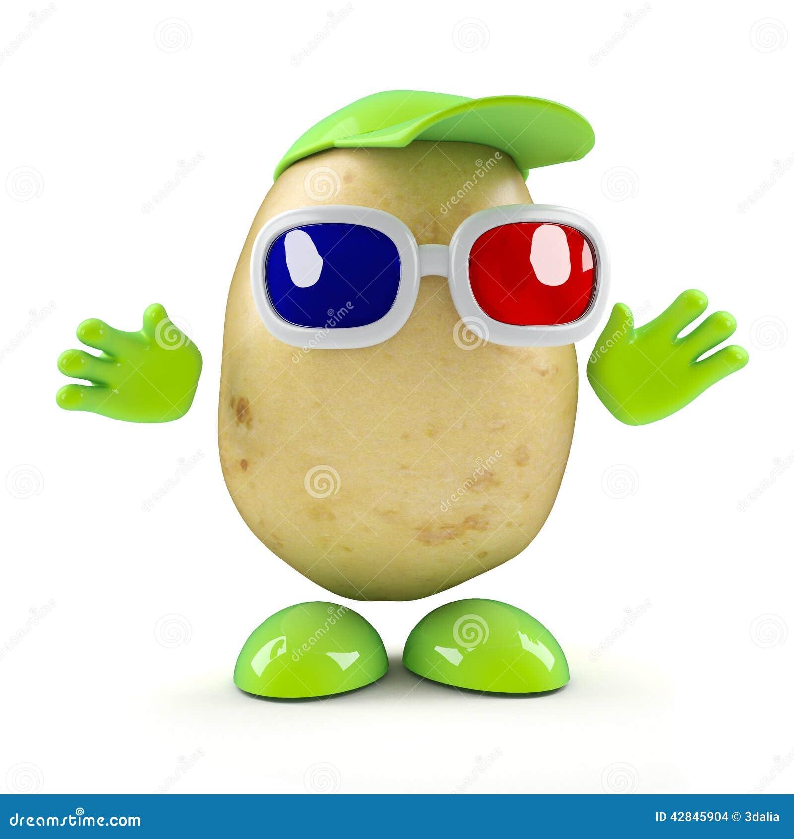 Potatisen 3d håller ögonen på en film 3d