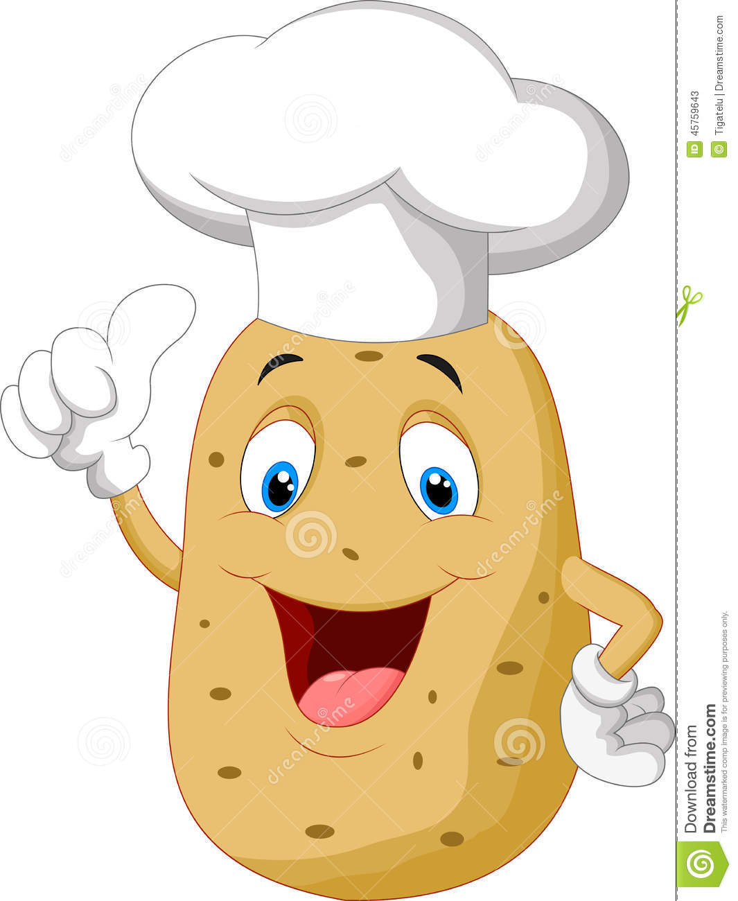 Potato chef cartoon giving thumb up stock vector image