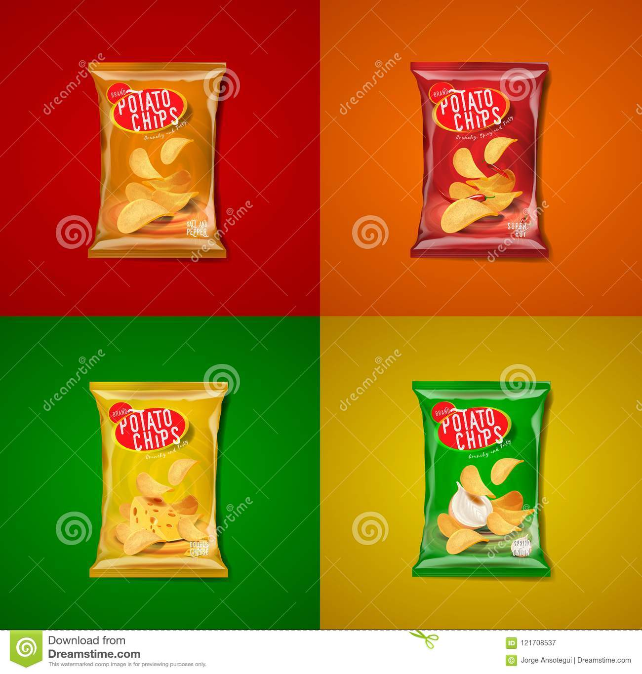 Potato Chips Advertisement Bags Stock Vector - Illustration of logo