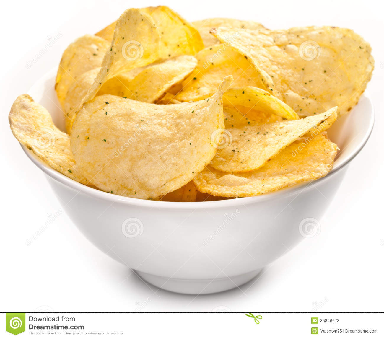 Potato Chips In A Bowl Stock Image Image Of Junk Ceramic 35846673