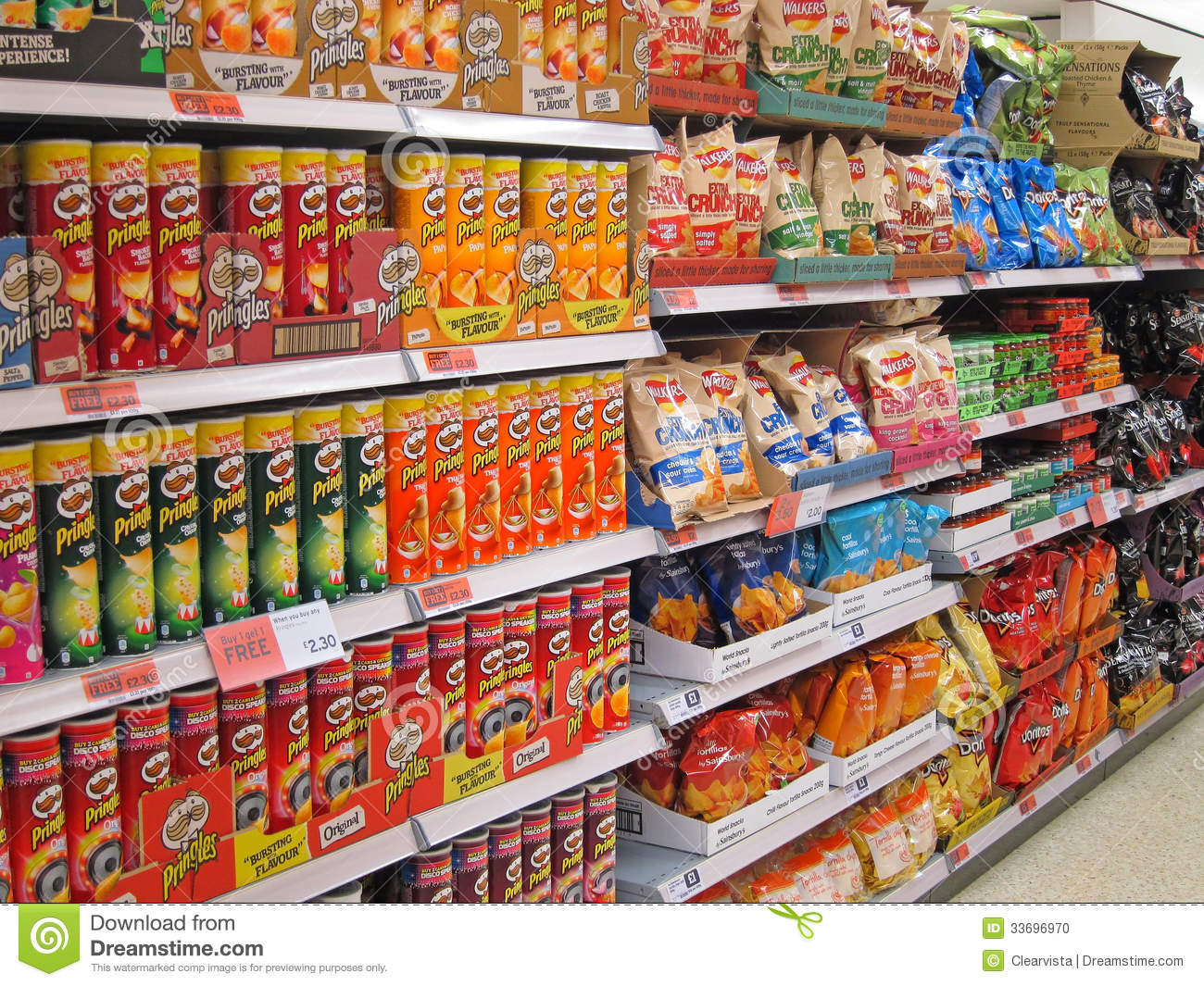 Potato Chips Or Crisps On A Store Shelf Editorial Image