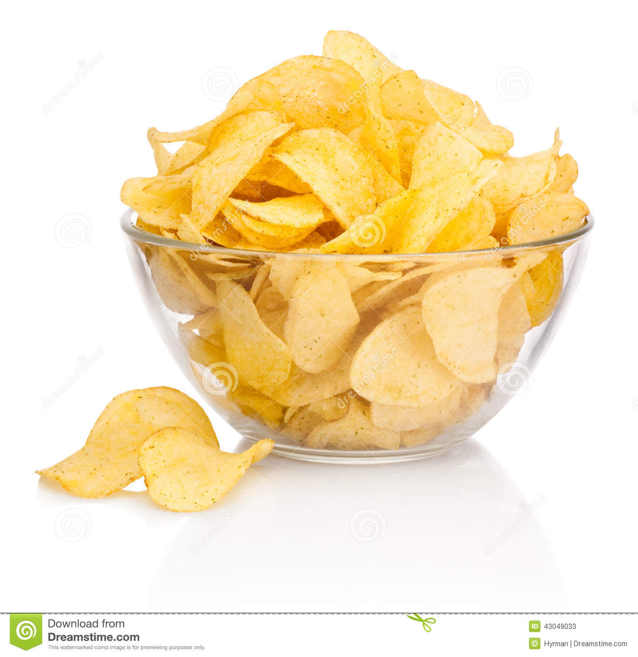 Potato Chips In Glass Bowl On White Background Stock Photo - Image ...