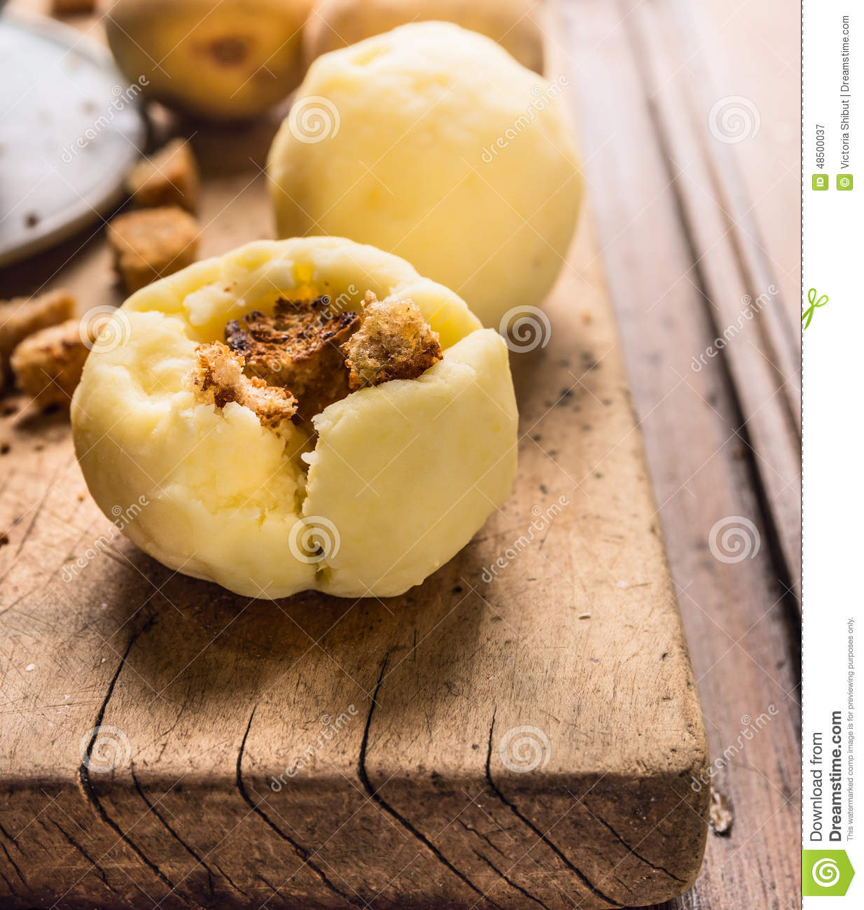 Potato Dumplings With Crouton, German National Food Stock Photo ...