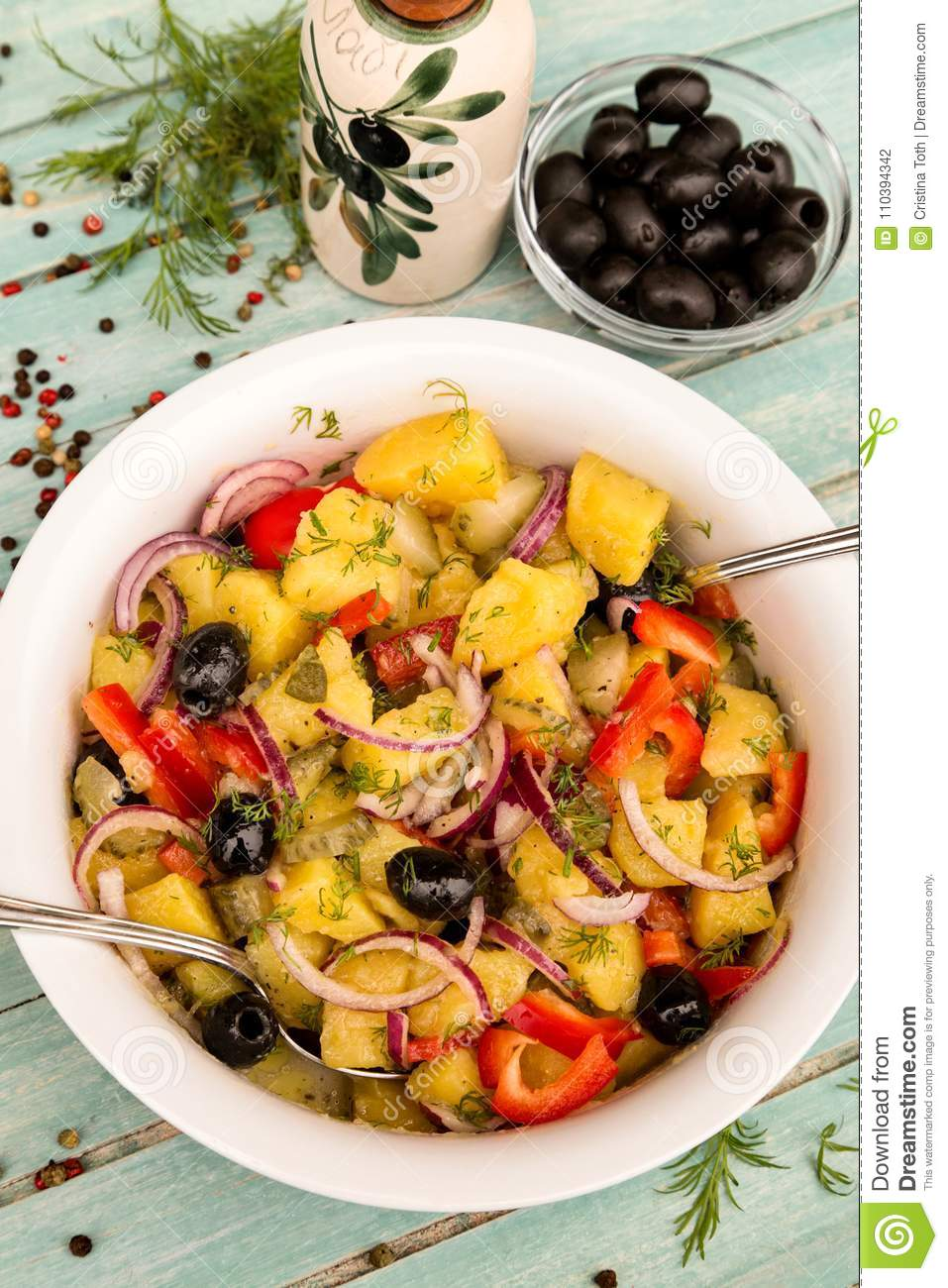 Potato Salad With Dill Pickles And Olives