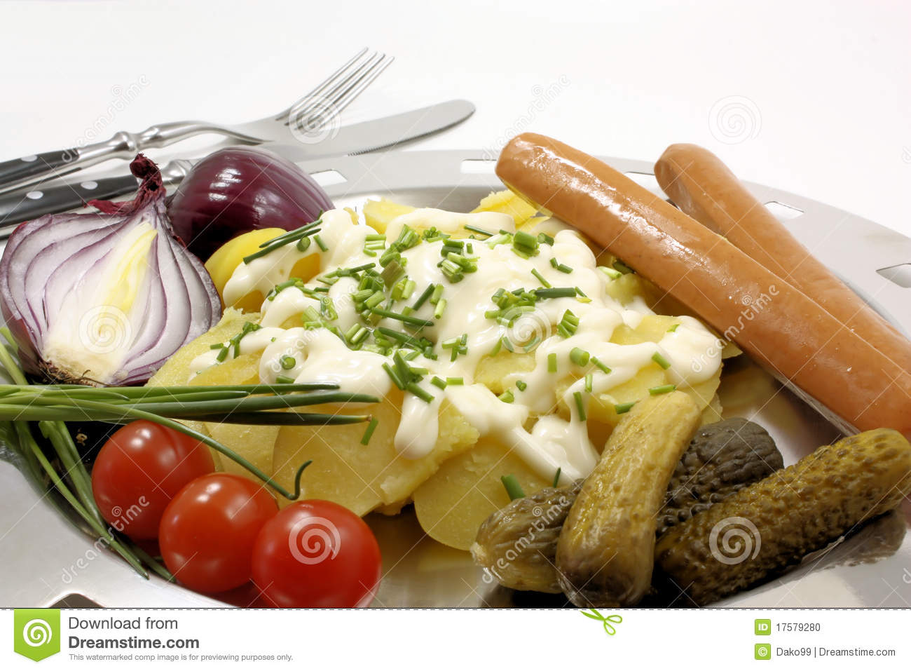 Potato Salad With Sausages Stock Photo - Image: 17579280