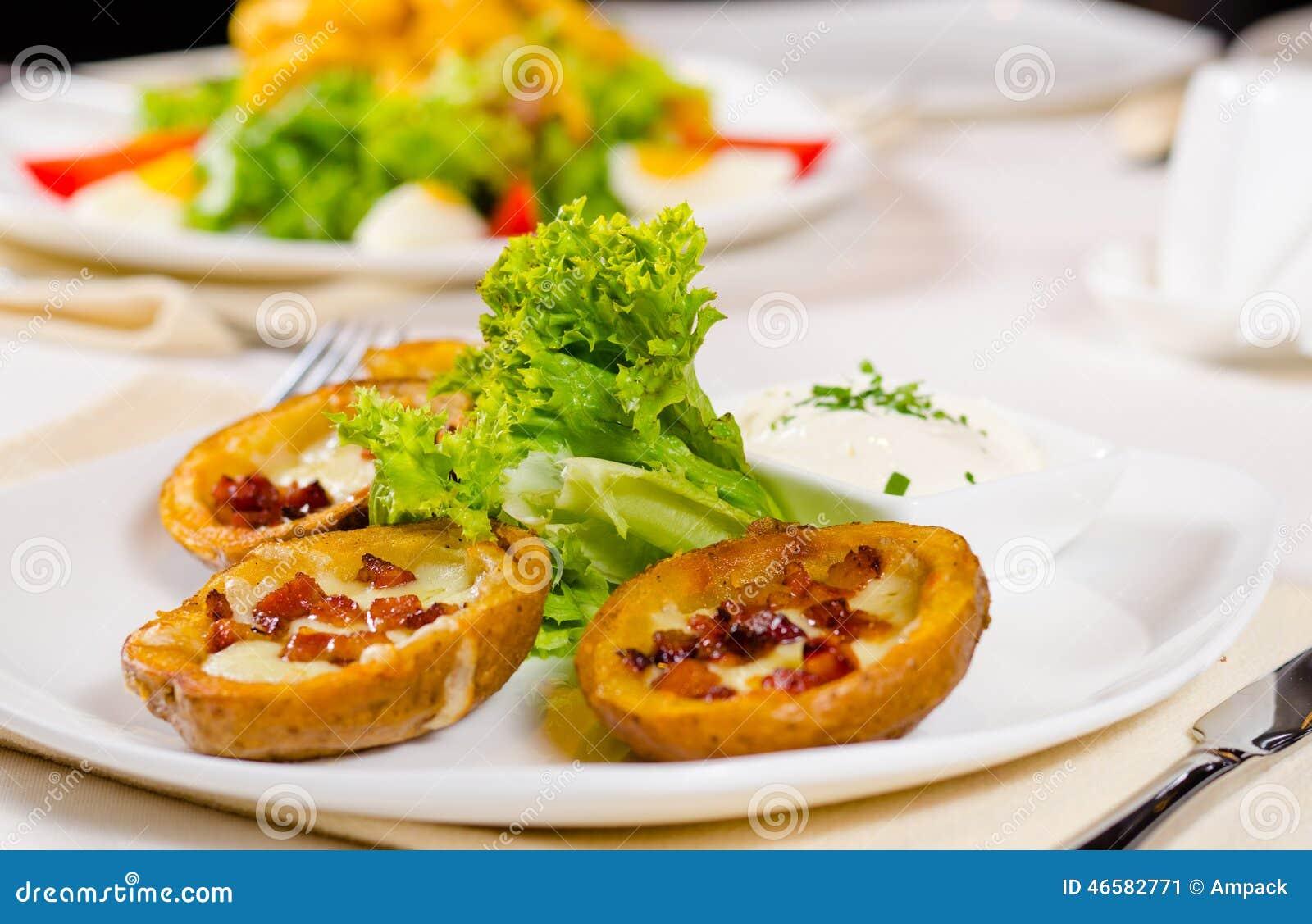 Potato Skins Appetizer With Garnish Stock Photo Image