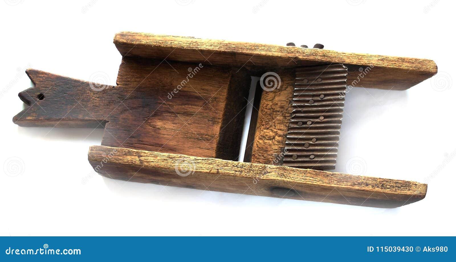 Potato Slicer Chips Maker Old Wooden Vintage Hard Wood Close Up