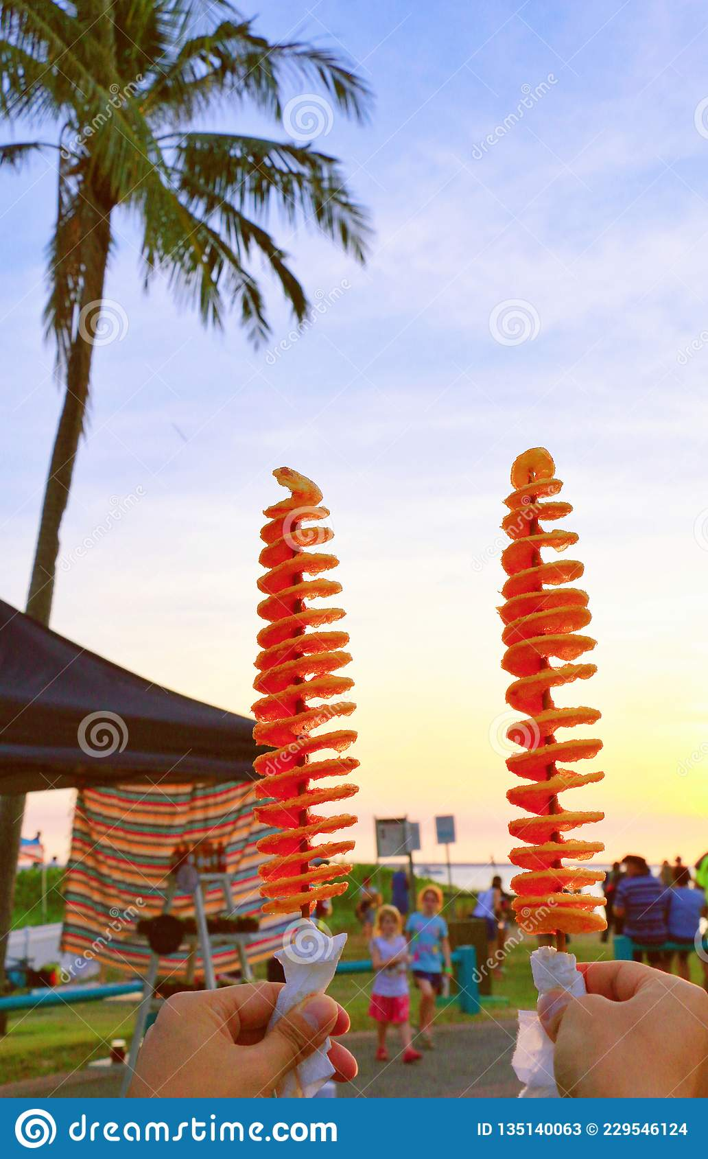 Potato tower cheers to sunset