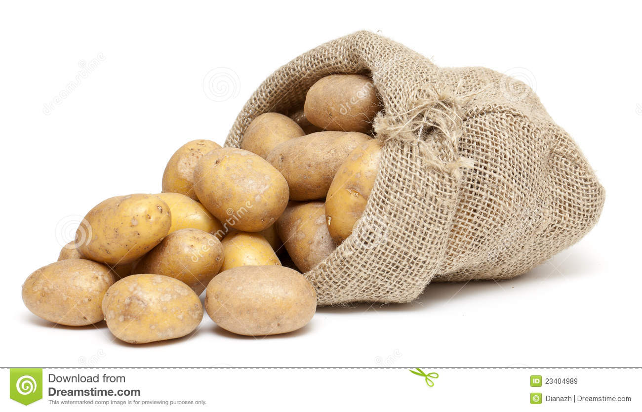 Potatoes in a burlap bag stock image. Image of spilled ...