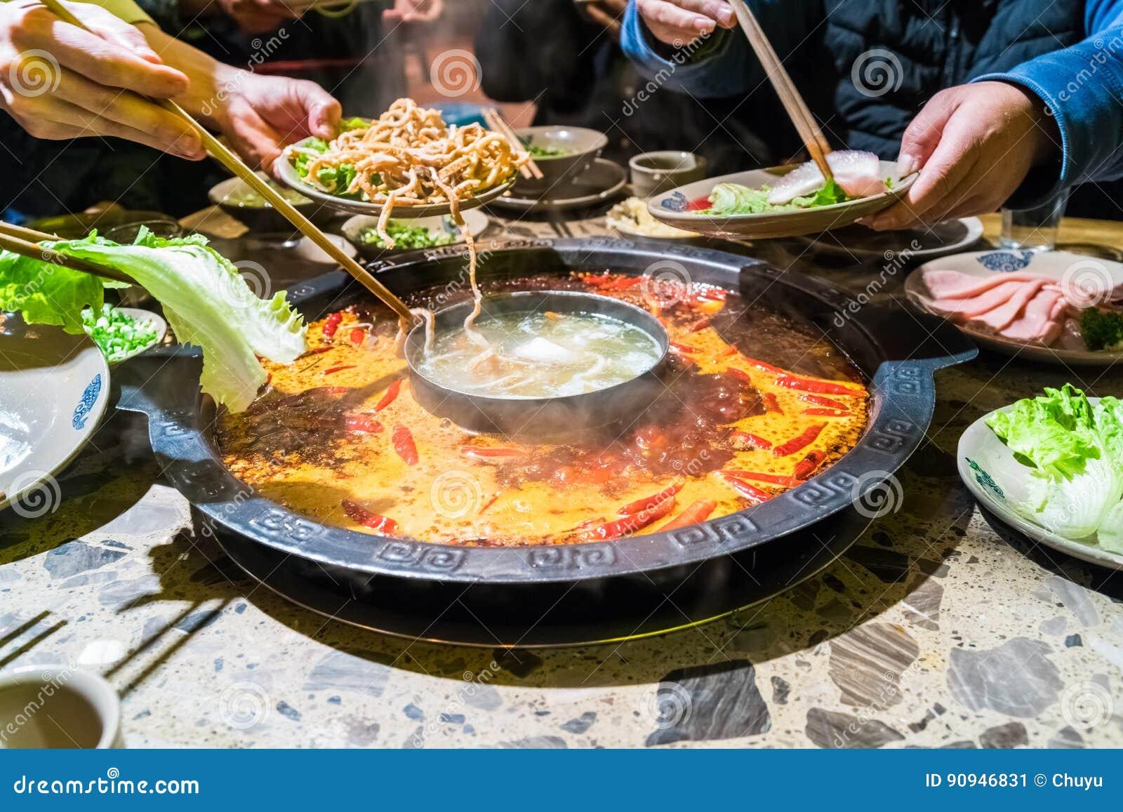 Pote caliente de Chengdu, plato de frotamiento de Sichuan