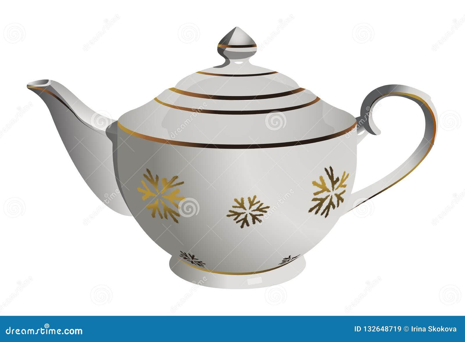 Pote de cerámica realista del té del vector con el ornamento del copo de nieve
