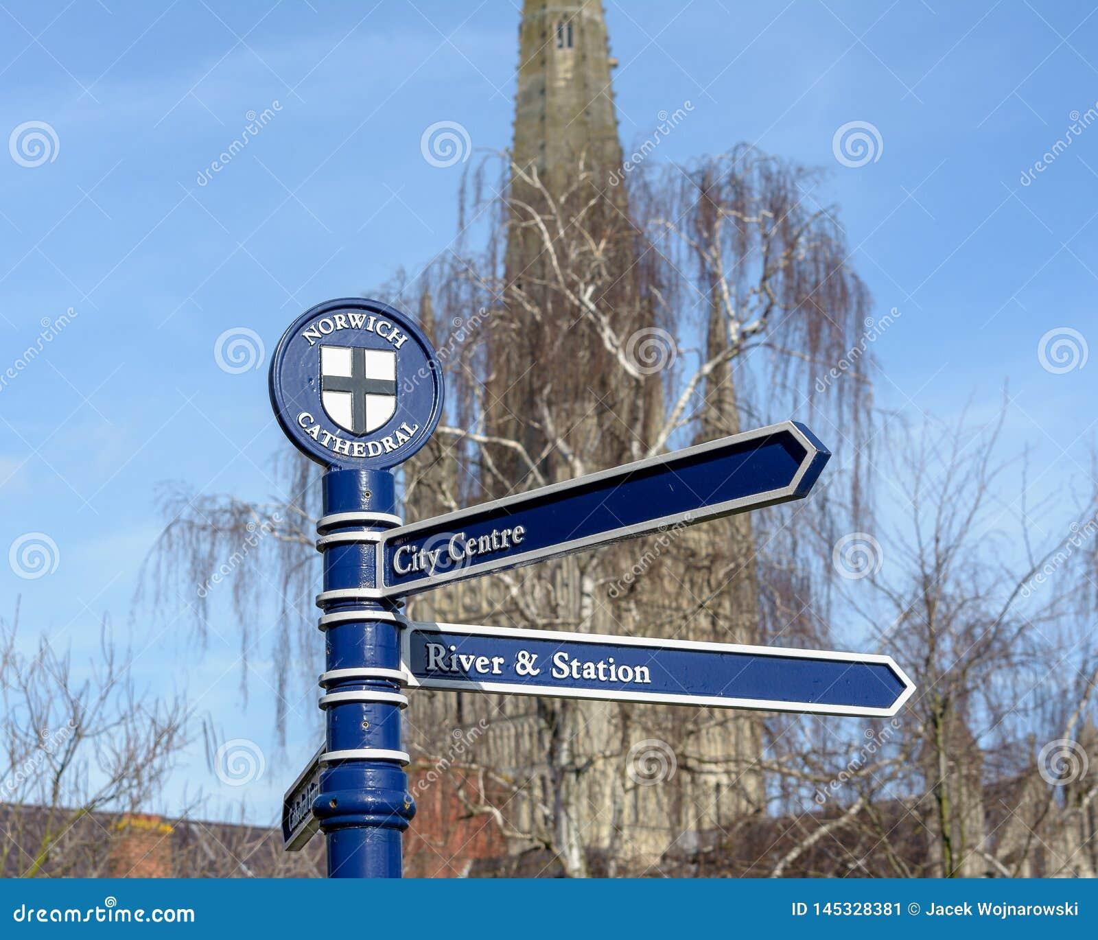 Poteau indicateur de cathédrale de Norwich
