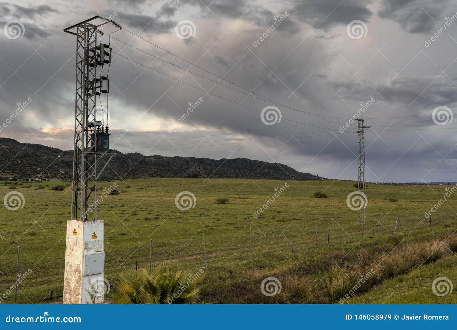 Poteaux à haute tension dans un paysage vert de nature