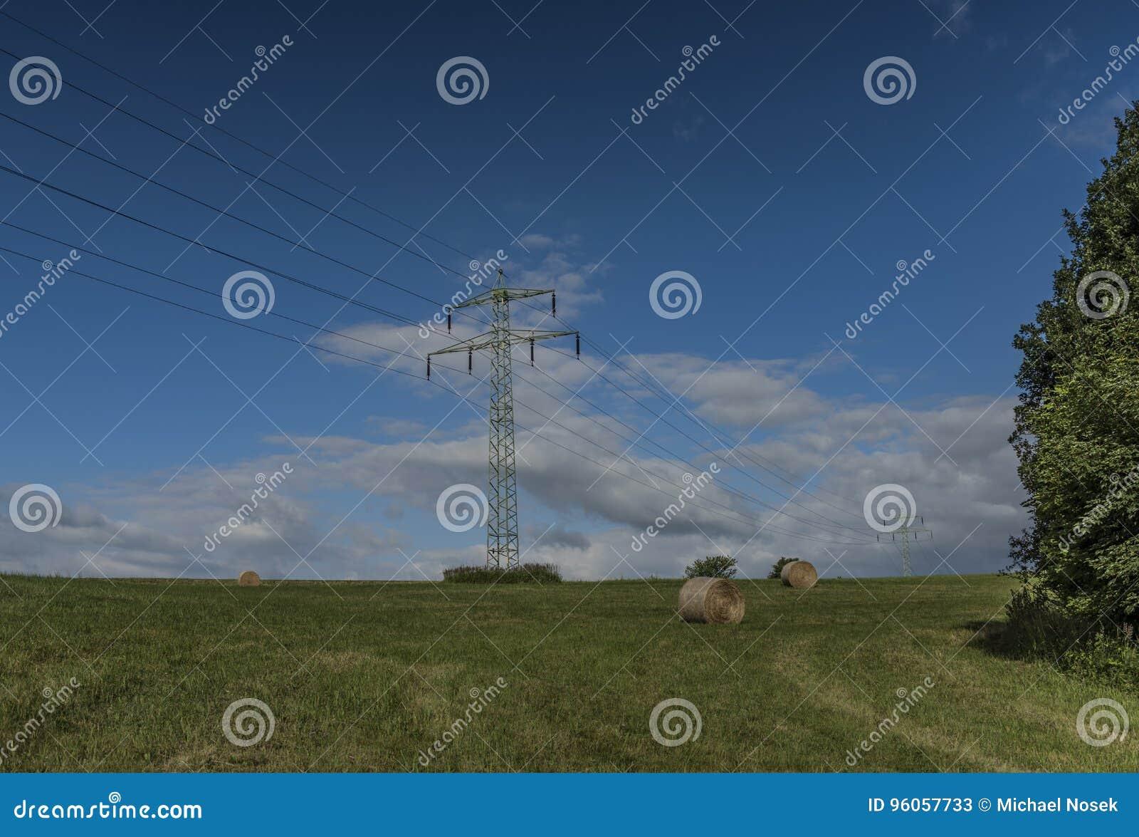 Poteaux électriques sur le pré vert avec le foin