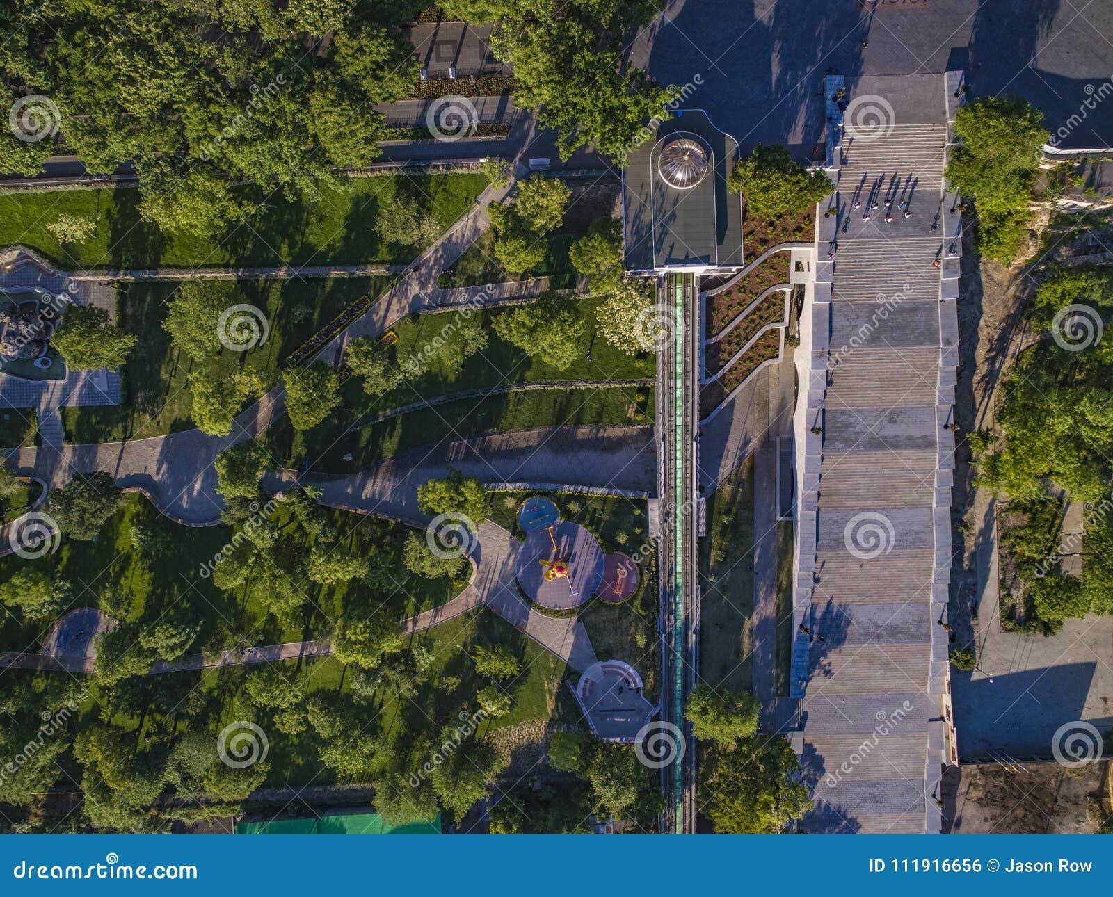 Potemkin Steps Istanbul Park Aerial in Odessa