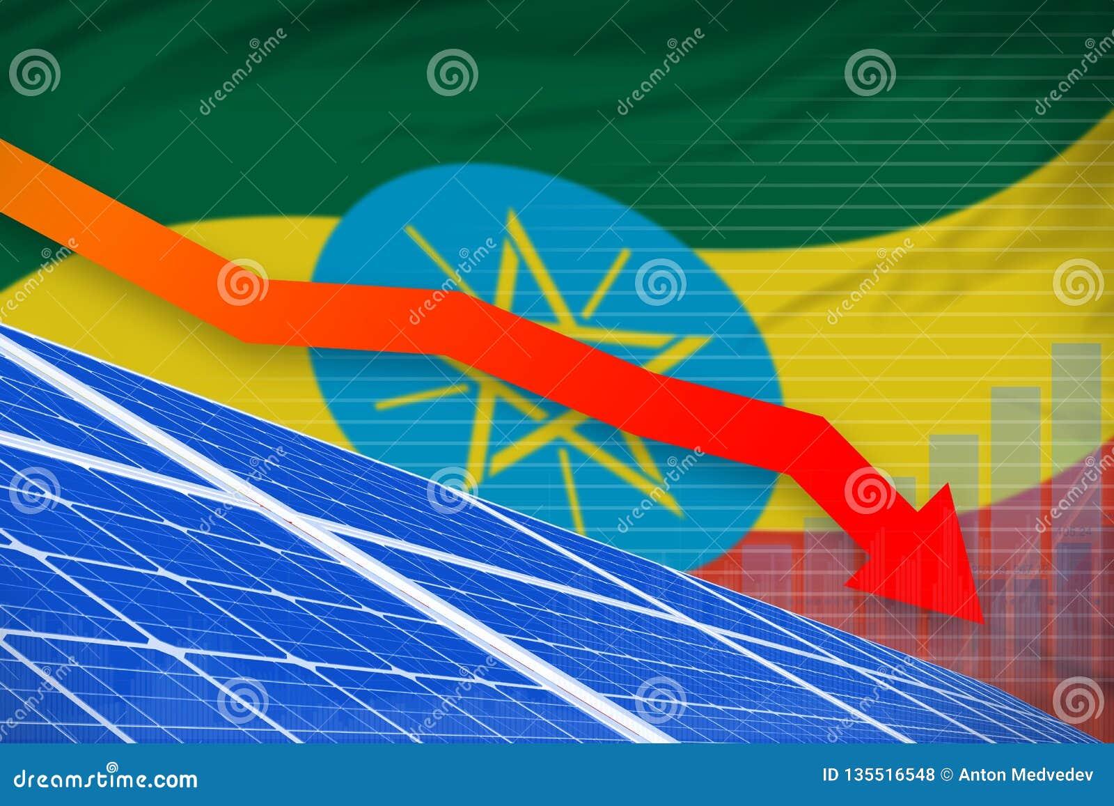 Potere di energia solare dell Etiopia che abbassa grafico, freccia giù - l illustrazione industriale rinnovabile di energia natur