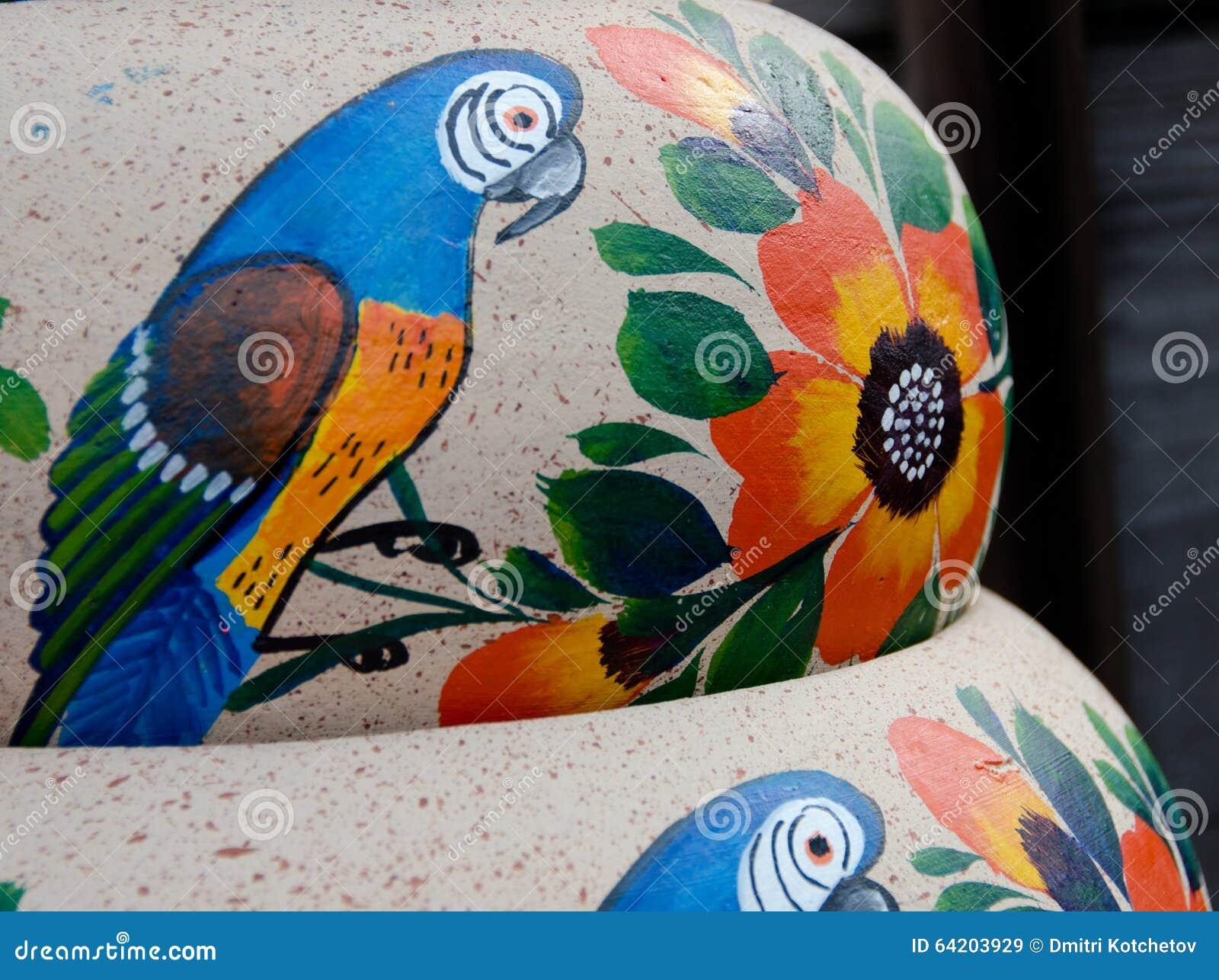 Potes de cerámica mexicanos, variedad azul de los pájaros