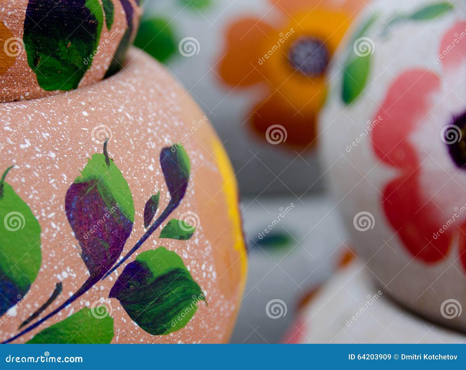 Potes de cerámica mexicanos, variedad rosada y púrpura grande