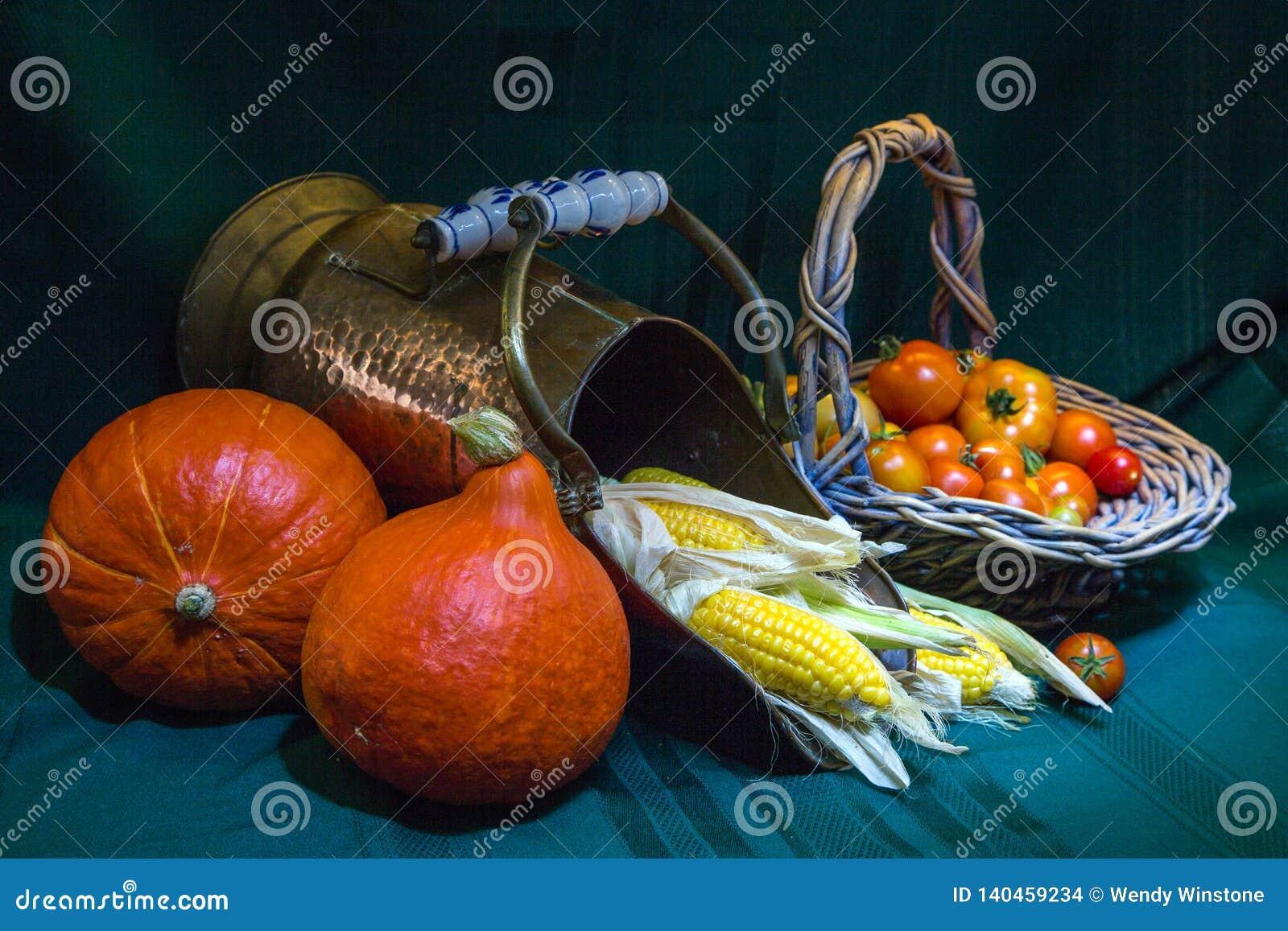 Potimarron Pumpkin with sweetcorn and tomatoe