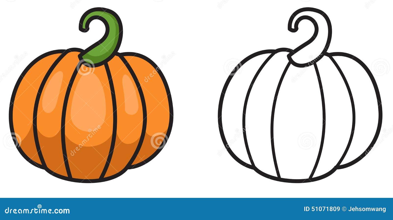 Potiron color et noir et blanc pour livre de coloriage illustration de vecteur illustration - Coloriage noir et blanc ...