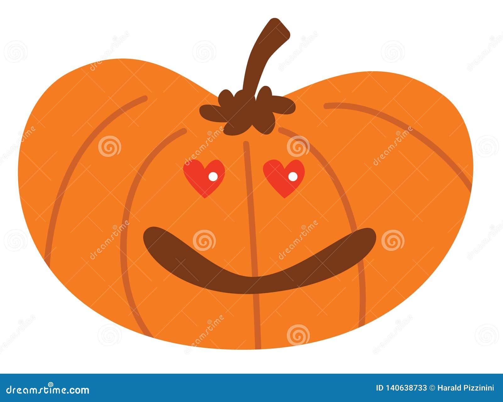 Potiron de Halloween de bande dessinée avec dans l expression d amour