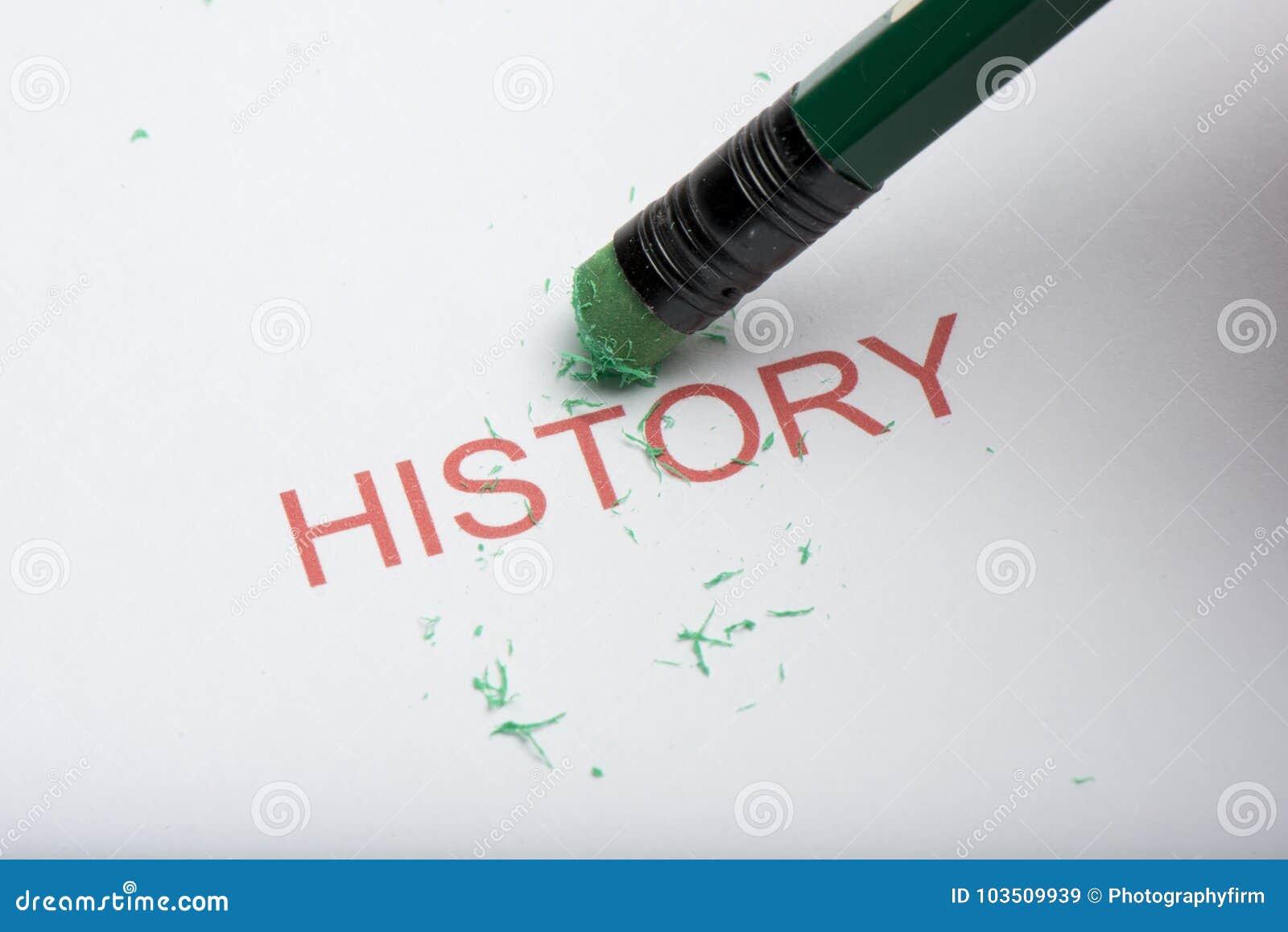 Potlood die de Word ` Geschiedenis ` op papier wissen