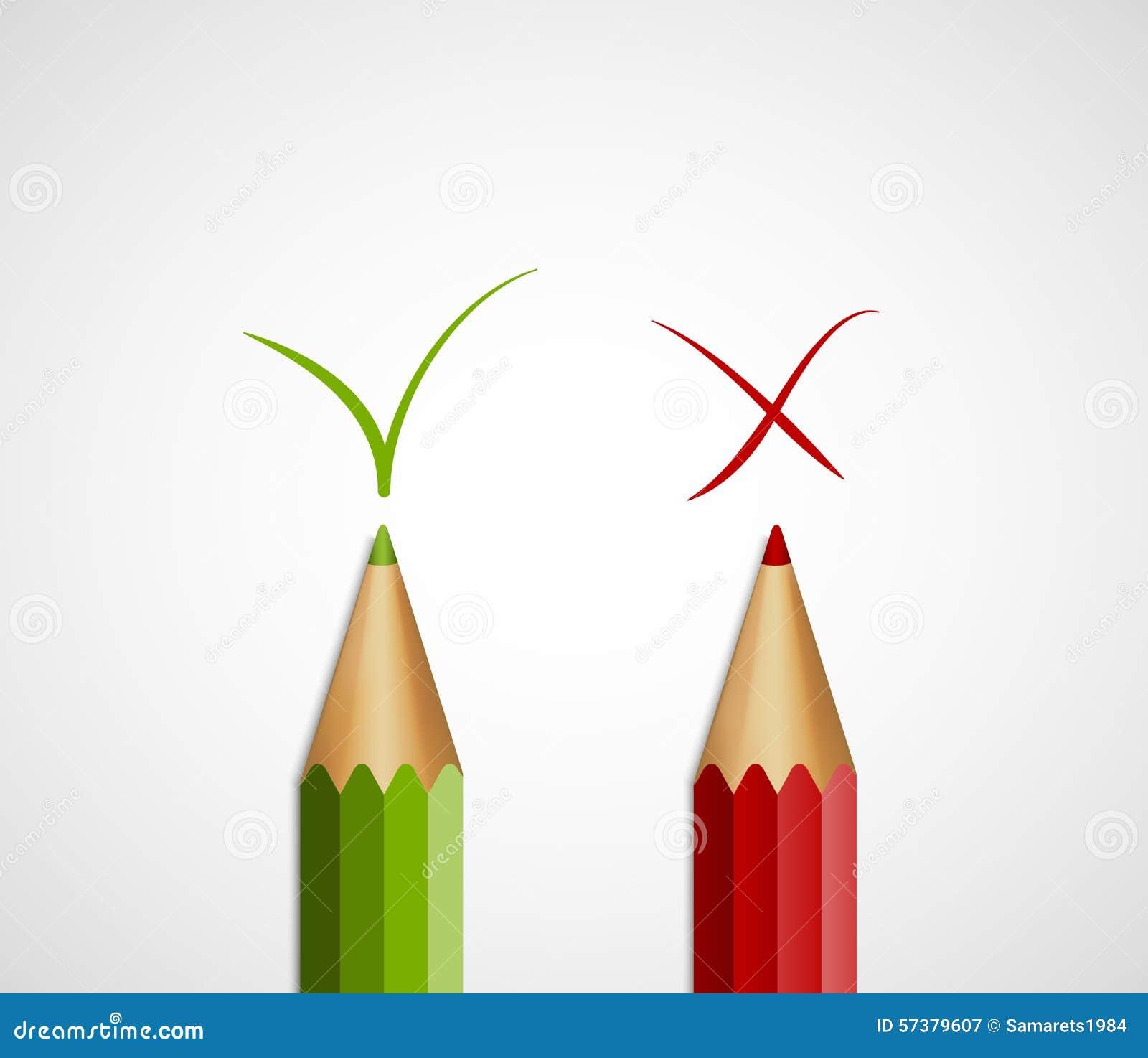 Potlood groene tik en rood kruis Met ja en Nr