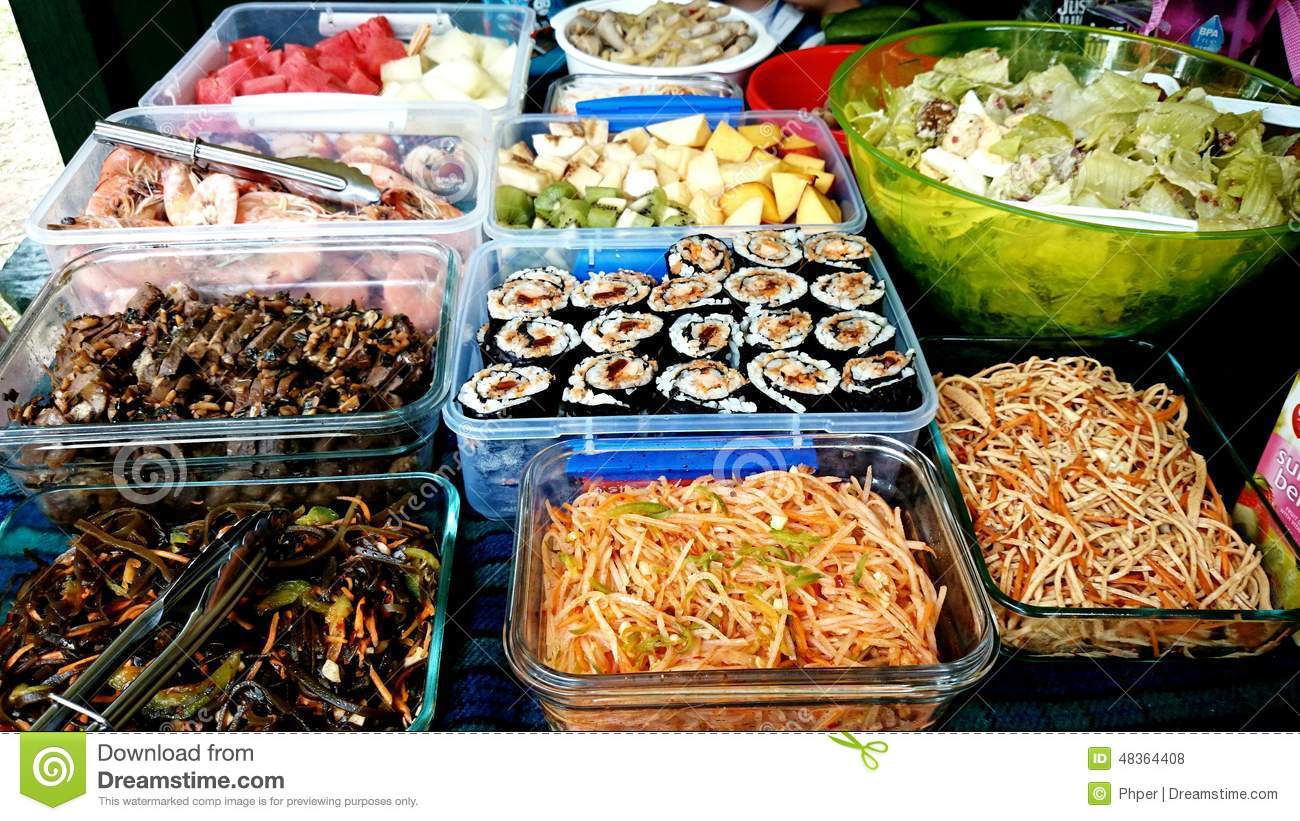 Potluck Picnic Food Stock Photo - Image: 48364408