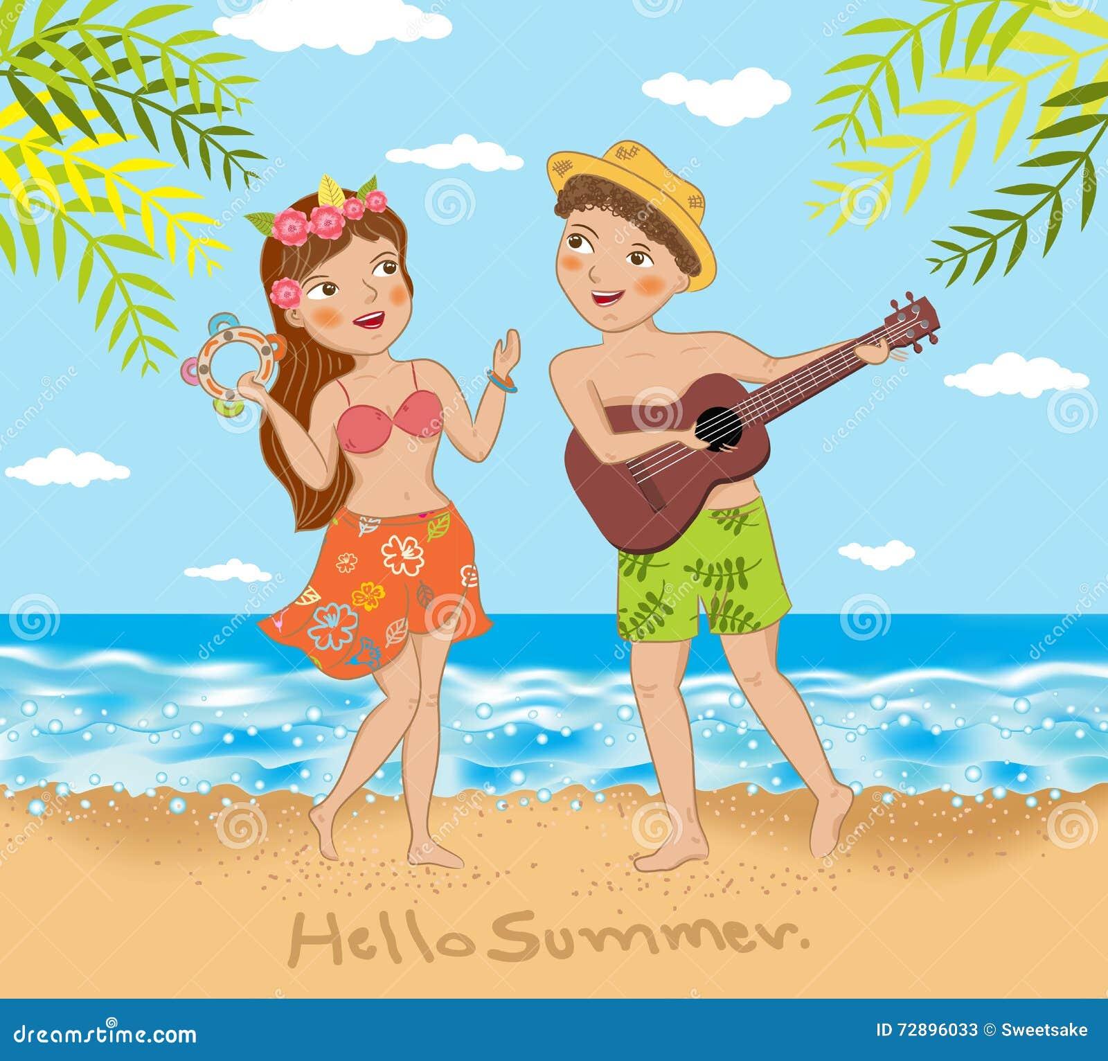 Potomstwa dobierają się śpiew i tana na plaży