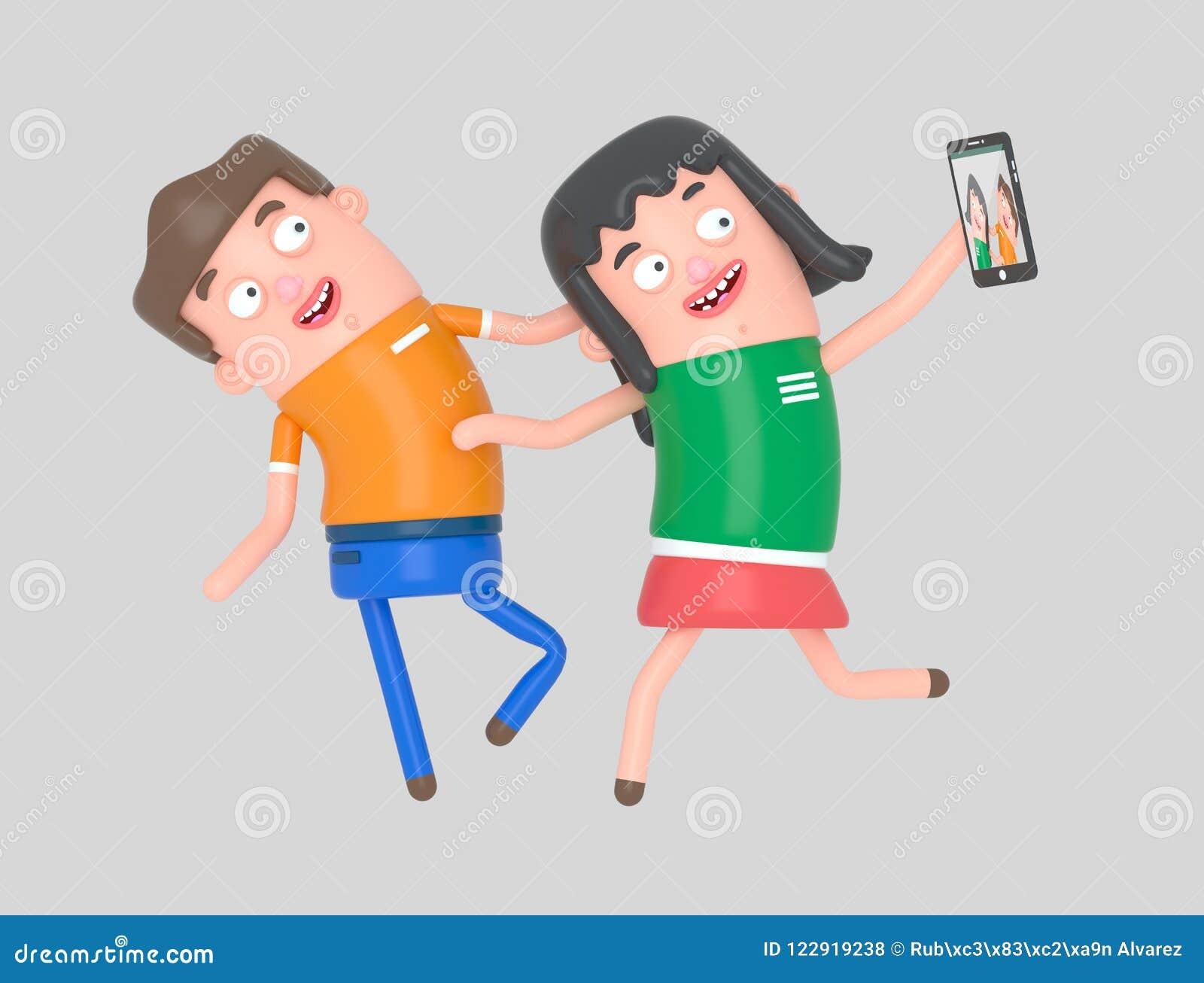 Potomstwa dobierają się brać selfie fotografię z smartphone