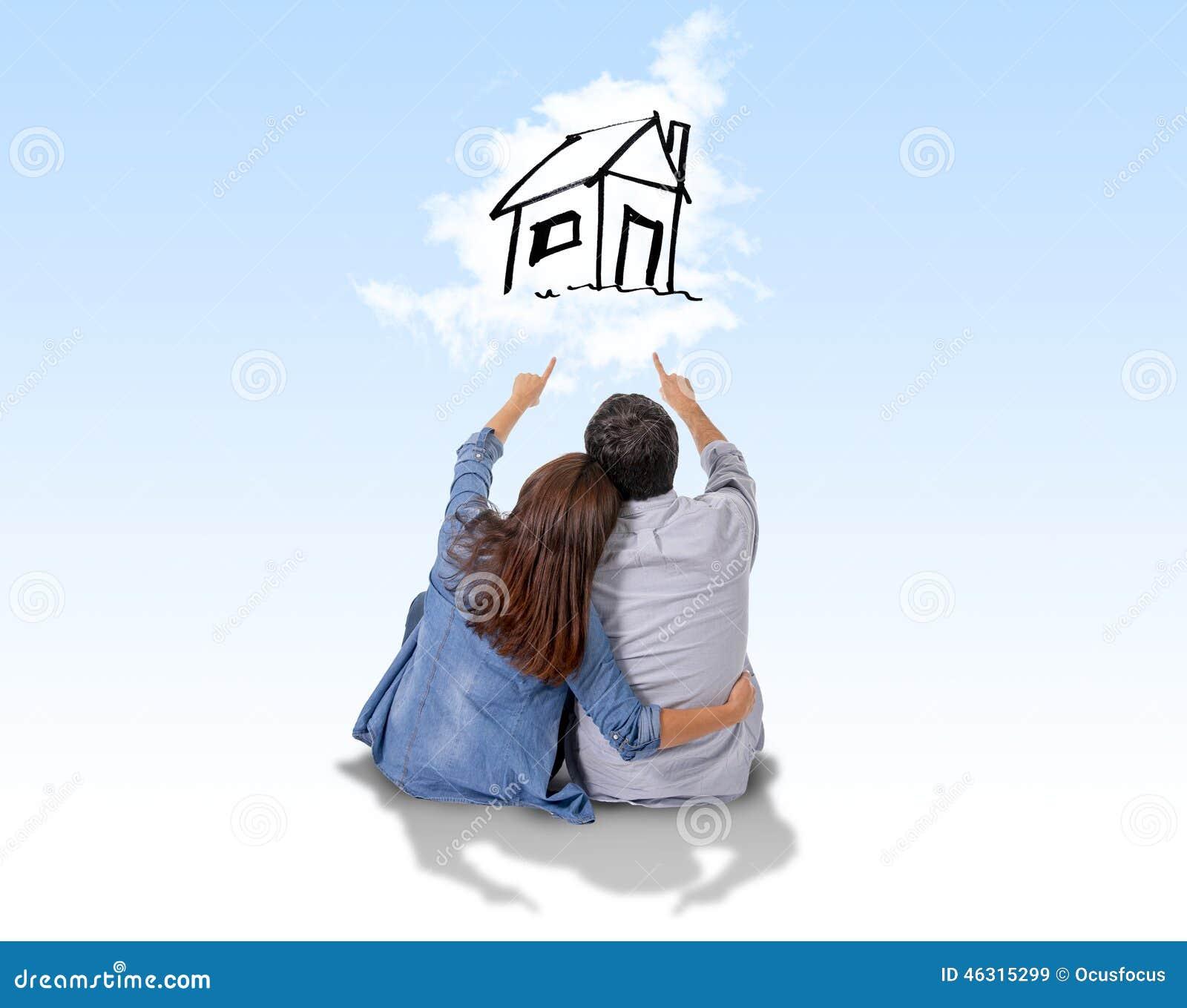 Potomstwa dobierają się marzyć i zobrazowanie ich nowy dom w istnym stanie