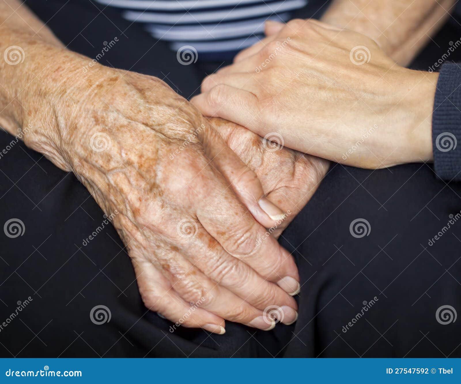 Potomstwa wręczają pocieszających stary wyga