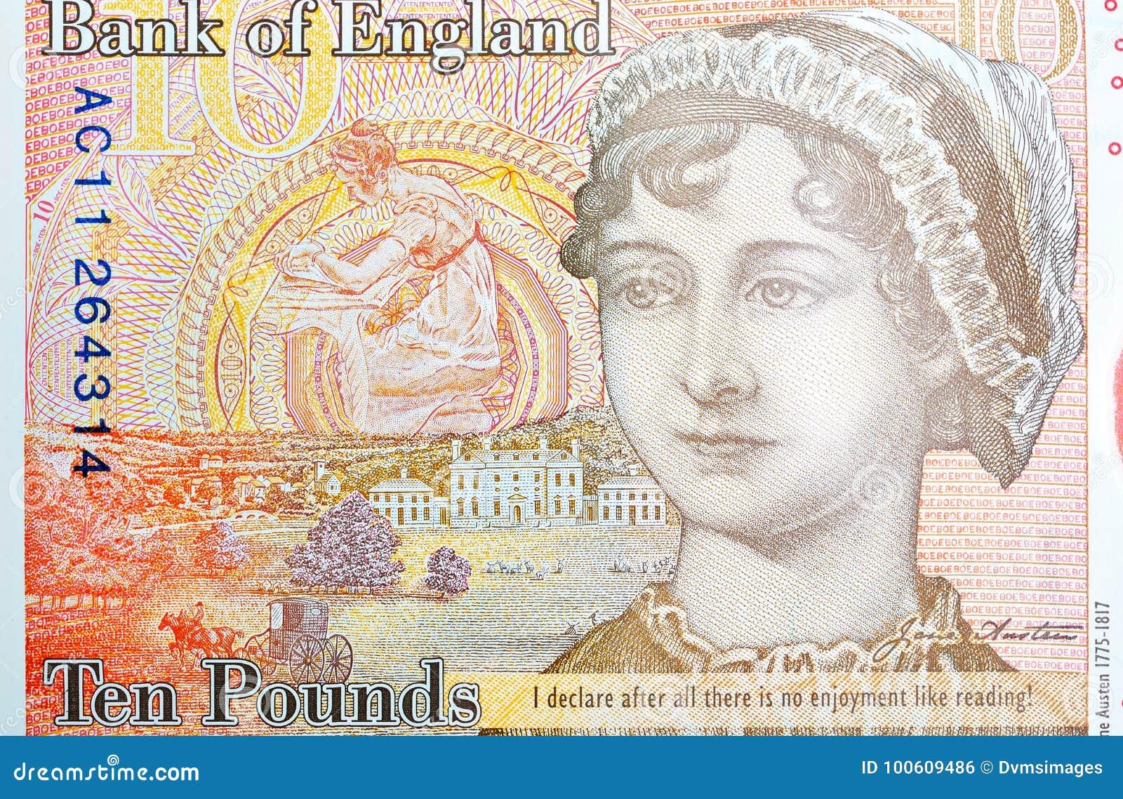 Potrait de Jane Austin en nota de diez libras