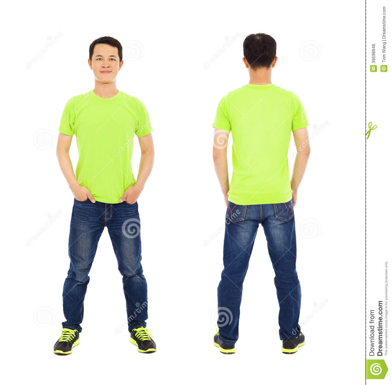 Potrait Of Young Man Standing ,front And Back Stock Photo